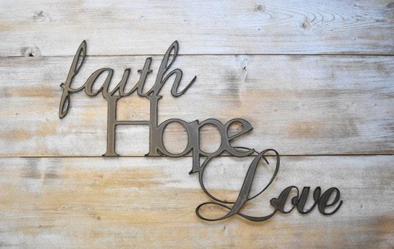 Metal sign faith hope love word sign farmhouse decor for Faith decor
