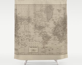 World Map Shower Curtain   Brown And Tan, Earth Tones, Decor Vintage Map