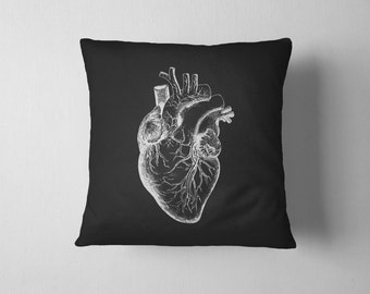 Anatomical Heart Pillow With Insert - Vintage Print Pillow - Throw Pillow WITH INSERT - 18x18