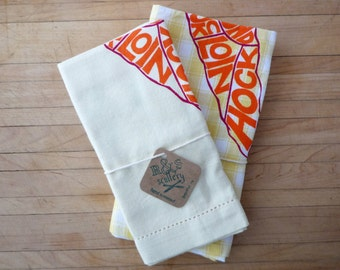 Tea Towel Set - Carrot Butchery Chart Print - Orange, Pink, and Green Carrot Illustration, Vegetarian Gift, Humorous, Vegan, Gourmet Gift