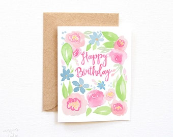 Floral Birthday Card, Pretty Birthday Card, Happy Birthday Card, Birthday Card Friend, Birthday Card, Greeting Card, Card Birthday
