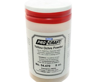 Pro-Craft Yellow  Ochre Powder 8 Oz - Soldering  Anti-Flux Coat Surfaces & More Wa 914-144