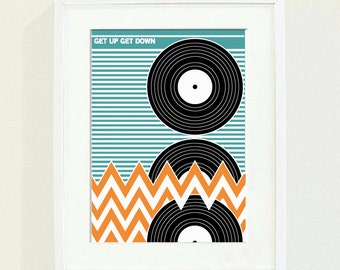 get up get down  A3 3 colour risograph print. limited run of 25.