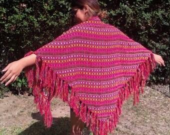 Pink knit shawl,fringed wrap, Woolworth Japan