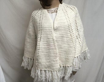 knit shawl ,knit wrap,  fringed,off white
