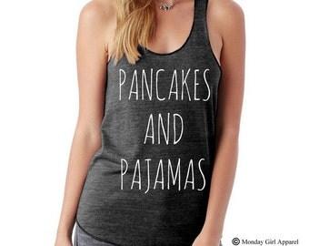 PANCAKES and PAJAMAS Tri blend Tank Top Alternative Apparel Shirt