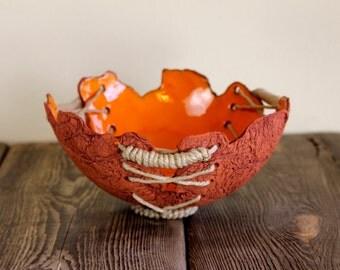 Bowl, dish, vessel, ceramic, orange