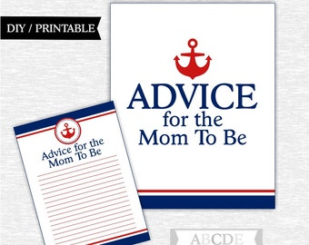 Instant Download Red, Navy Nautical Baby shower, Advice for the Mom to be Cards DIY Printable (PDNSI001)