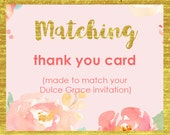 thank you card printable, thank you note, made to match any DulceGracePrintables invite