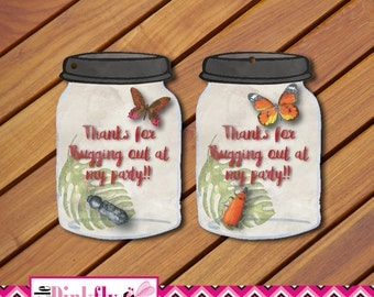 Insect Favor Tags Instant download, Bug Favor tags, Beetle Favor tags,