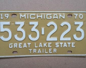 Vintage 1970 Michigan License Plate, 1970 license plate, vintage Michigan license plate, old Michigan license plate, antique Michigan plate
