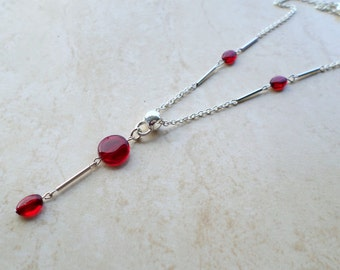 Red necklace, scarlet red necklace, pendant necklace, silver necklace, evening jewellery, party necklace, elegant necklace, classic necklace