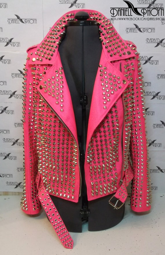Exclusive Pink studded leather jacket from the by BarbedVirgin