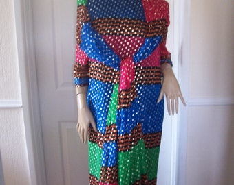 Lacasse of London Authentic Vintage Stunning Colours/Fabric Occasion Dress Sz 14/16 Pristine