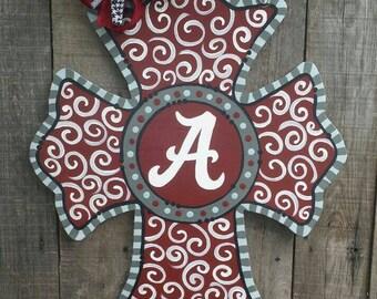 Alabama Cross Door Hanger..Roll Tide...Crimson Tide. .Football Decor  28 x 22 inches