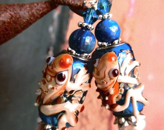 Lampwork Frog Beads with Freshwater Pearls Handmade Earrings