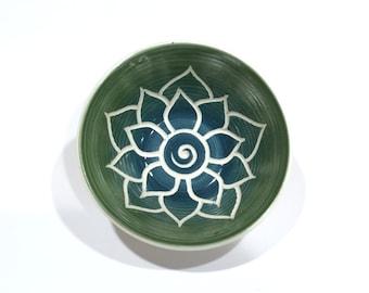 Green Teal Lotus Bowl