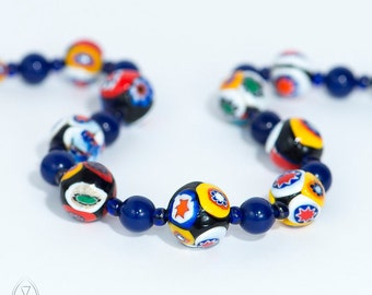 A gorgeous necklace of millefiori beads - Vintage Murano Necklace - Venetian beads - Millefiori beads - Italian beads - Italian necklace