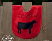 Personalized Show Heifer Baby Bib - farm nursery, fleece name bib, farm animal baby shower gift