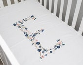 Initial baby bedding, crib sheet, floral