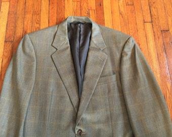 Newer Vintage Hickey Freeman Pale Green Windowpane Plaid Sport Coat Blazer 40R