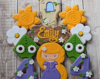 Tangled Inspired Disney Rapunzel Decorated Cookies Girl Birthday
