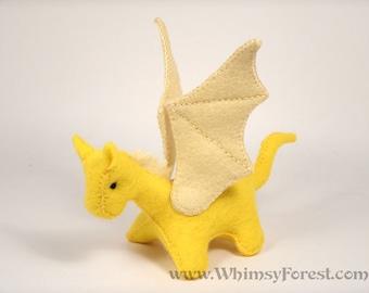 Miniature Yellow Felt Dragon Toy