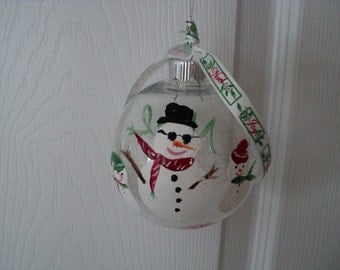 Hand Painted Christmas Ornament *Snow People Design *3 available