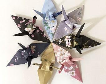 "100 6"" Kimono Pattern Chiyogami Origami Cranes - Wedding Decoration, Party Decoration, Events"