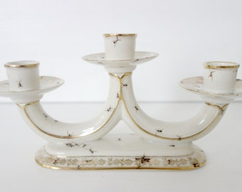 Chitins Gloss - candle holder - vintage porcelain handpainted with ants