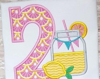 Lemonade Applique Design - Mason Jar Applique Design - Birthday Applique Design - Applique Number Set - Birthday Embroidery Design