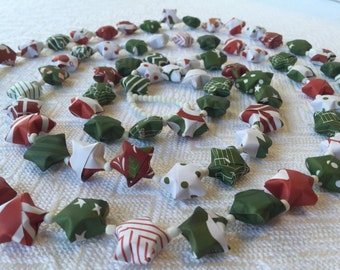 Holiday Paper Origami Star Garland with white beads #10