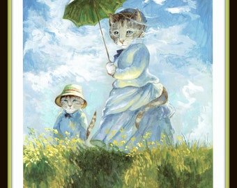 "1992 Cat art print by - inspired by Claude Monet's, ""The Promenade"", 1875- Decor, to frame, for Cat Lovers"