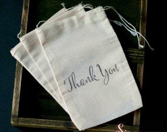 10 x Thank You Muslin Favour Bags. Diy thank you gift