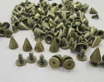 100 sets 10mm Bronze Tone Base Metal Screw in Spike, Leather Craft Accessories, Craft Supplies