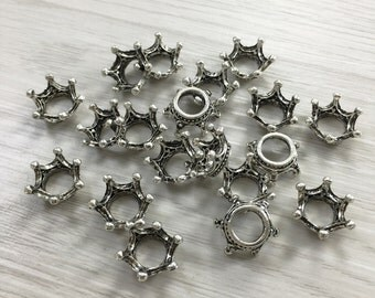 50pcs Antique Silver Large Hole Crown Beads,Crown beads for Bracelet