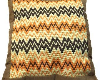 Vintage Pillow Bargello in Brown, Orange, Beige  Retro Zig Zag Pattern Handmade