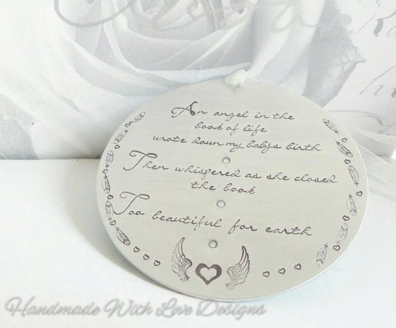 Angel Baby Ornamental Hanging decoration, personalised handstamped baby loss memorial, book of life, too beautiful for earth