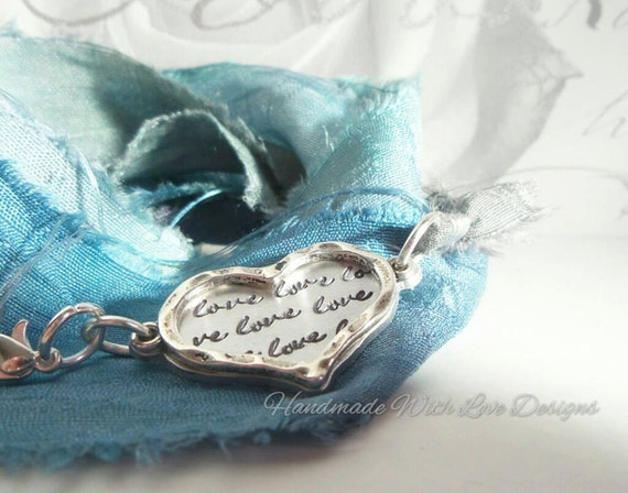 Handstamped Silk Wrap Bracelet, Recycled sari silk jewellery, Love heart,