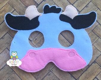 Cow Mask, Kids Dress Up Mask, Cow Costume Mask, Wool Blend Mask, Felt Cow Mask, Jungle Party Favor, Monkey Mask