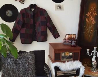 80's dark patchwork coat vintage