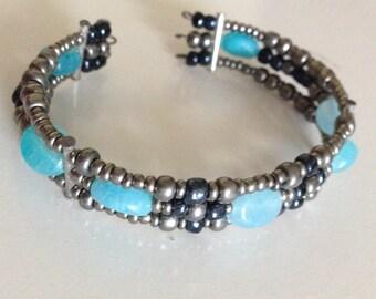 silver glass and hemimorphite beaded cuff bracelet