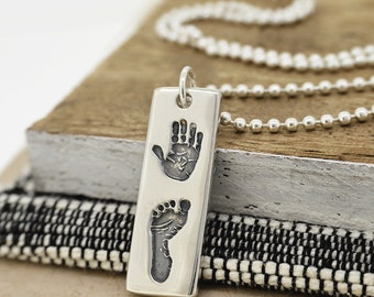 Silver Handprint Footprint Slim Tag Necklace   Personalised Gift   Free UK Delivery   Hold upon Heart