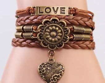 Boho vintage love heart bracelet