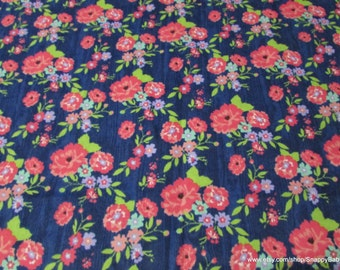 Flannel Fabric - Navy Floral - 1 yard - 100% Cotton Flannel