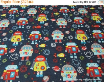 Back to School SALE Flannel Fabric - Space Robots  - 1 yard - 100% Cotton Flannel