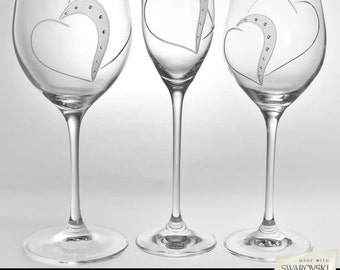 Personalised Wedding glasses - Swarovski Elements,Flutes, Wedding Glasses, Champagne Glasses, Engraved, Handcut,