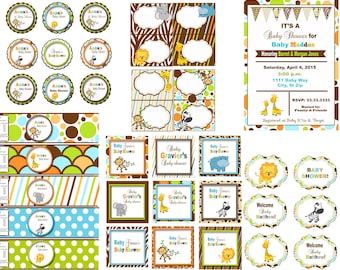 Safari baby shower, Jungle baby shower, Zoo baby shower Animal Baby shower Safari theme decor  digital