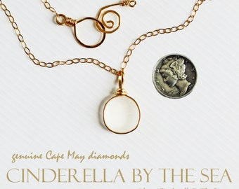 Cape May Diamond, Genuine Cape May Diamond Jewelry, Cape May Diamond Necklace Handmade in 14 kt Gold Fill.  Wedding, Bride, Bridal