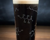 Beer Chemistry Pint Glass   Nerdy chemistry gift for him, perfect for birthdays graduation fathers day anniversaries